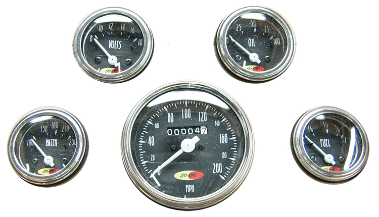 So-Cal Speed Shop 5 Gauge Set 200mph Speedo