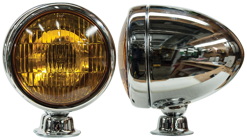 Teardrop Fog Light Chrome housing with Amber bulb