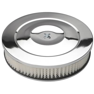 14in Chrome Air Cleaner Flat Base
