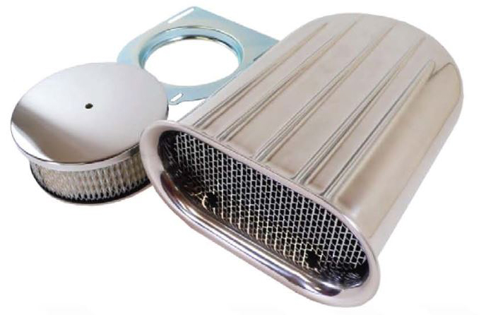 Small Polished Aluminum Finned Scoop Air Cleaner