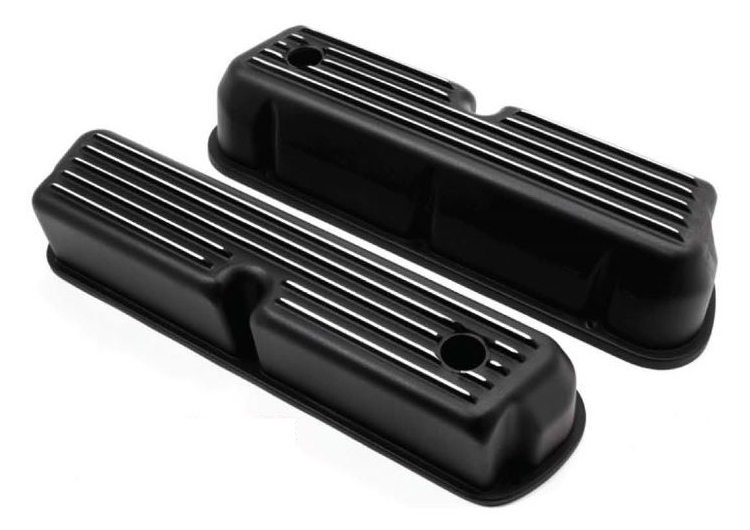 Small Block Ford Black Finned Aluminum Valve Covers