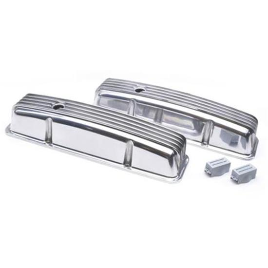 Finned Aluminum Valve Covers Small Block Chevy Short