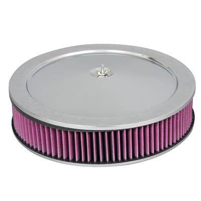 14in Chrome Air Cleaner Recessed Base with Washable Filter