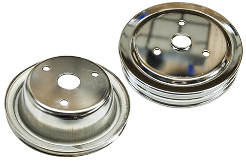 Chrome Triple Groove Pulley SBC SWP