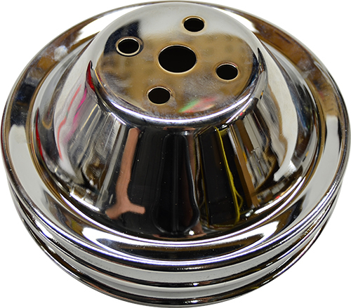 Small Block Chevy Short Water Pump Pulley Double Groove Chrome