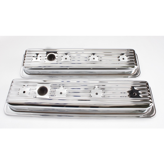 Small Block Chevy Centerbolt head Chrome Valve Covers