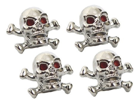 Chrome Skull and Cross Bones Valve Caps