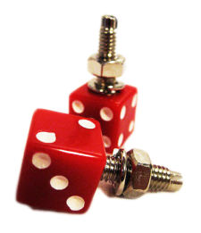 Red Dice License Plate Bolts