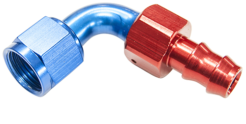 AN 6 90 Degree Push On Hose End Red & Blue
