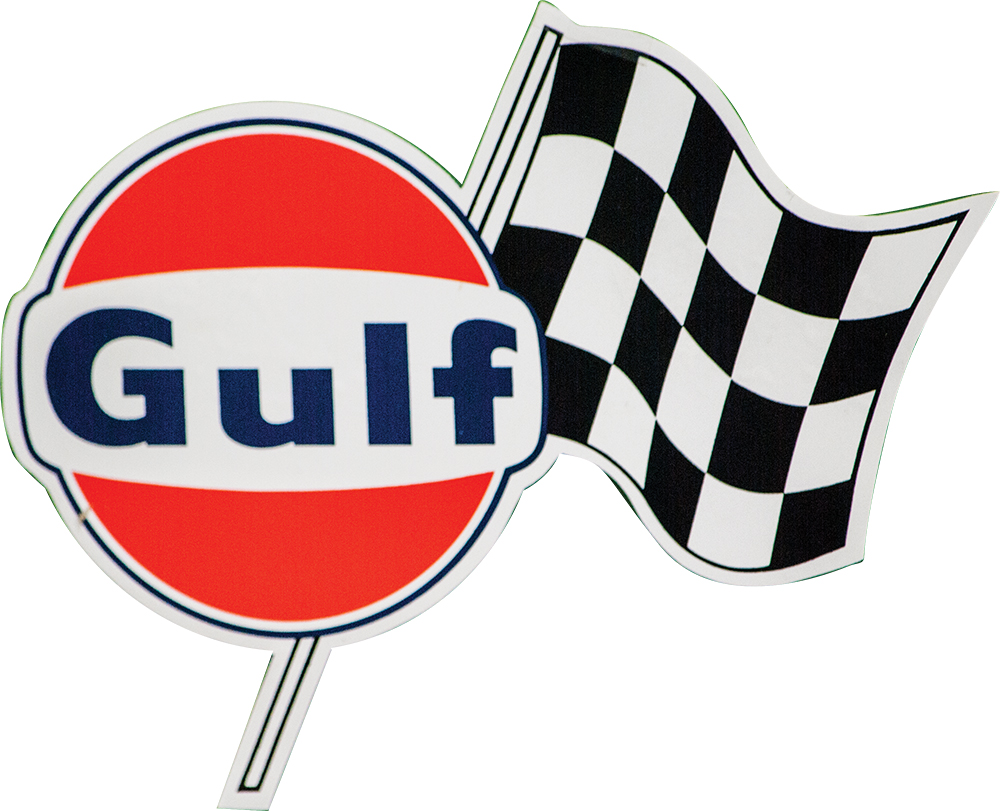 Gulf Gas Decal with Checkered Flag RH