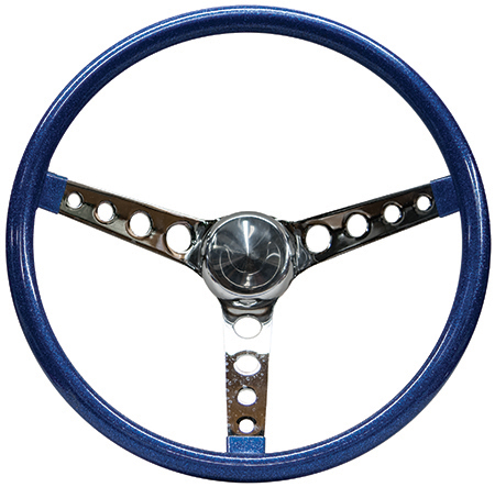 Mooneyes Metalflake Steering Wheel Holes in Spokes Blue