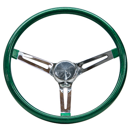 Mooneyes Metalflake Slotted Steering Wheel Green 15""