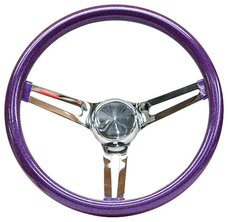 Mooneyes Metalflake Slotted Steering Wheel Purple 15""