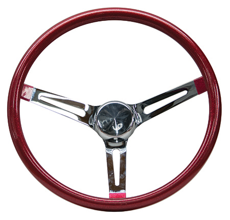 Mooneyes Metalflake Slotted Steering Wheel Red 15""