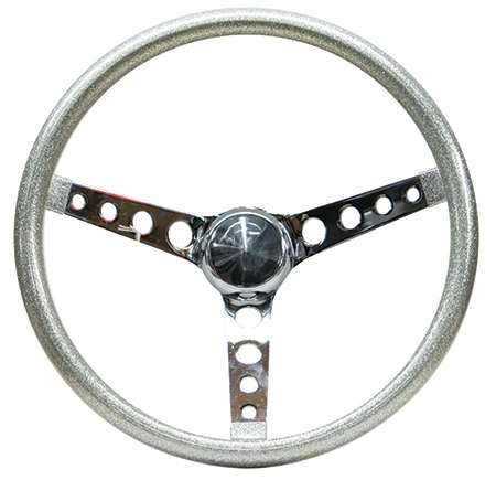 Mooneyes Metalflake Steering Wheel Holes in Spokes Silver