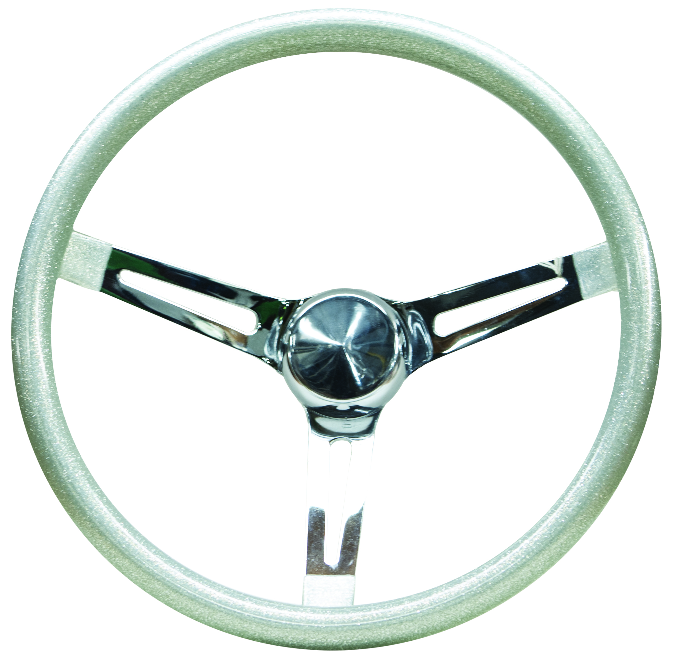 Mooneyes Metalflake Slotted Steering Wheel Silver 15""