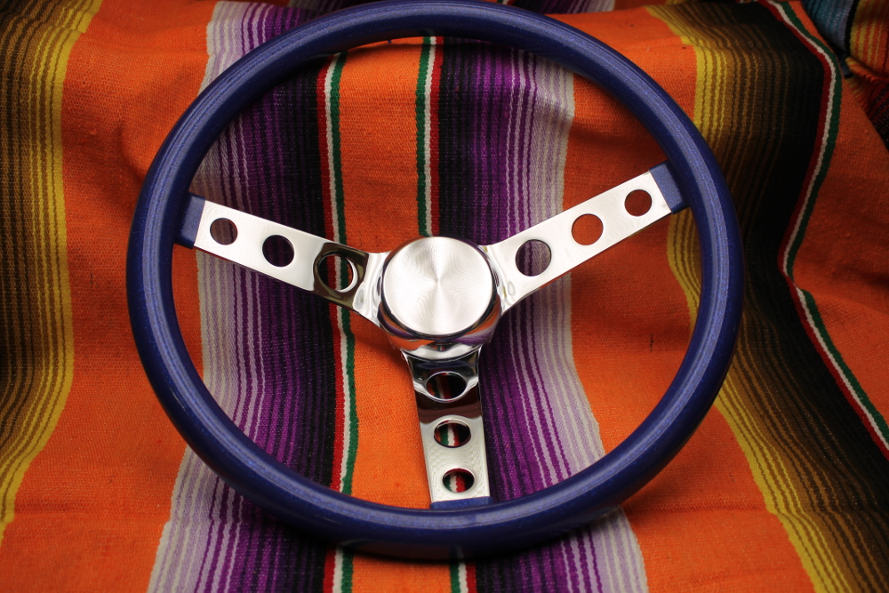 Mooneyes California Metalflake 13in 3 Hole Steering Wheel Blue