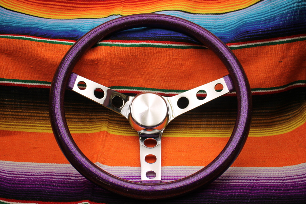 Mooneyes California Metalflake 13in 3 Hole Steering Wheel Purple