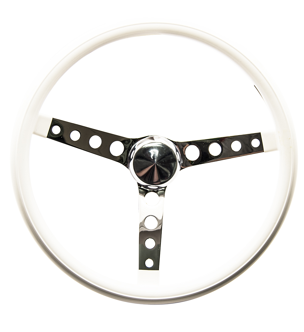 Mooneyes Vinyl Covered Steering Wheel Holes in Spokes White
