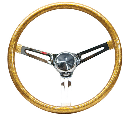 Mooneyes Metalflake Slotted Steering Wheel Gold 15""