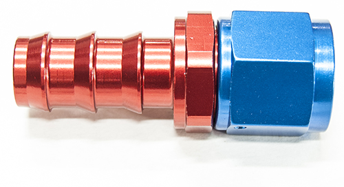 AN6 Straight Push On Hose End Red & Blue