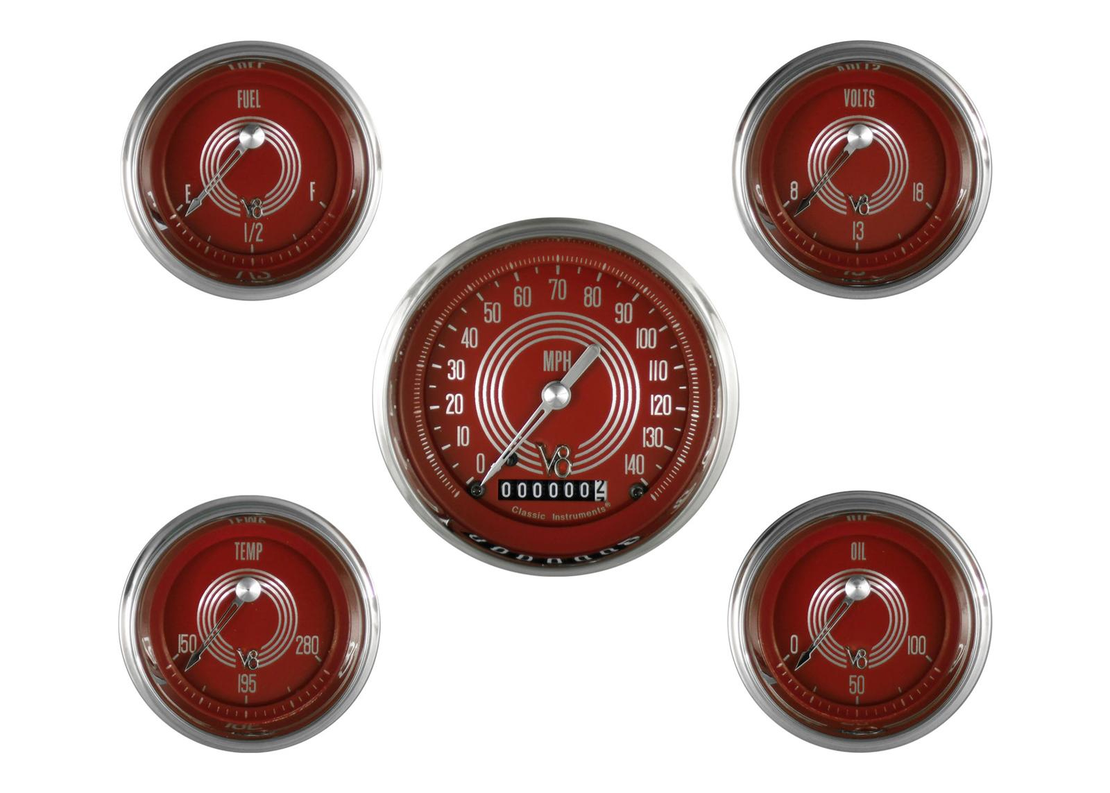 Classic Instruments V8 Red Steelie Series 5 Gauge Set
