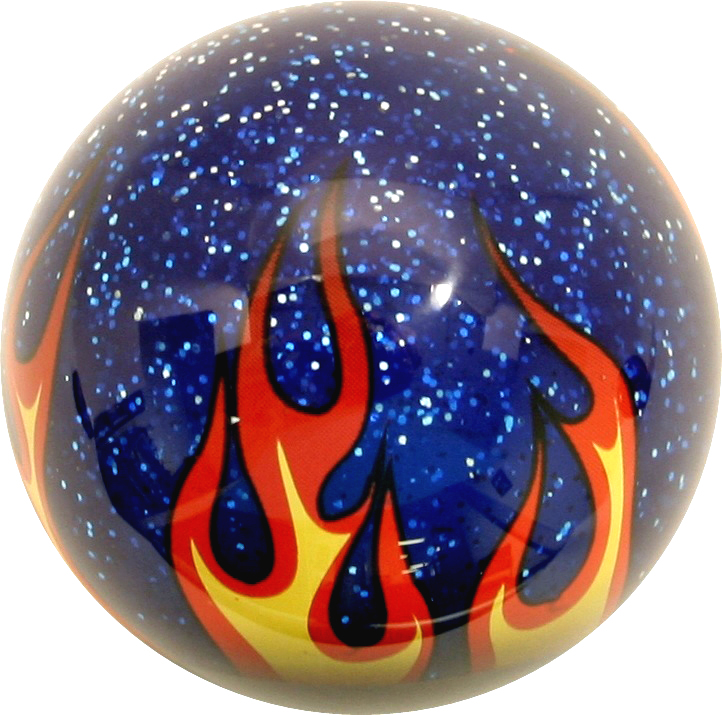 Blue Sparkle Shift Knob with Flames