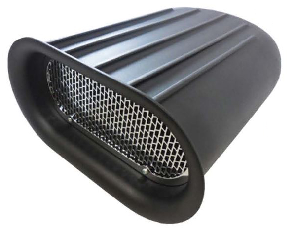 Small Black Aluminum Finned Scoop Air Cleaner