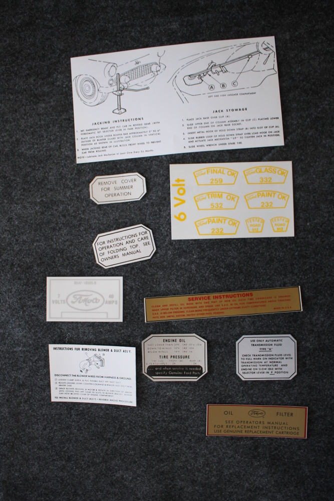 1955 Ford Thunderbird Decal Set Restoration
