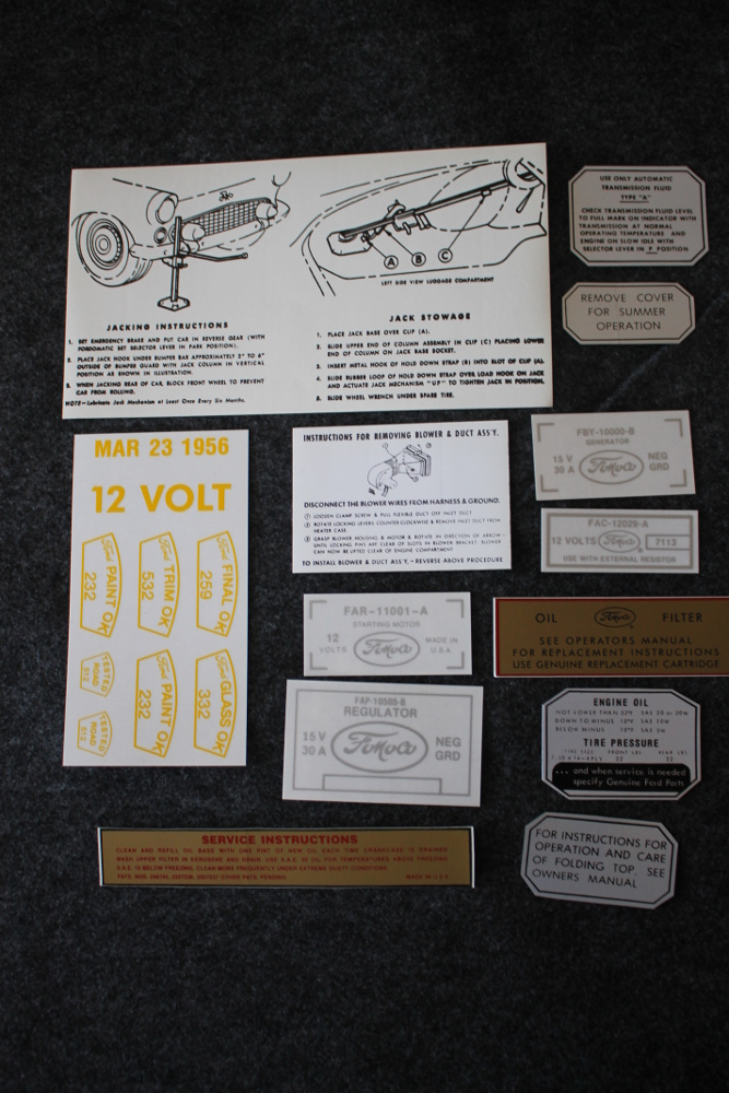 1956 Ford Thunderbird Decal Set Restoration