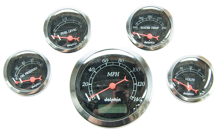 5 Gauge electric set with Electric Speedometer Black