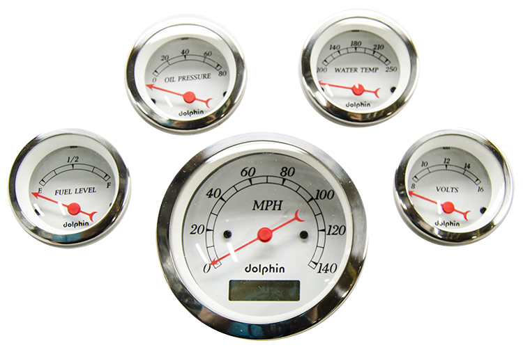 5 Gauge electric set with Electric Speedometer White