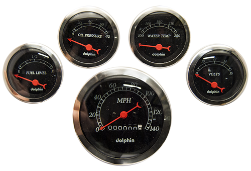 5 Gauge electric set with Mechanical Speedometer Black