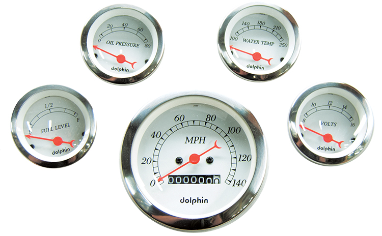 5 Gauge electric set with Mechanical Speedometer White