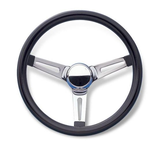 Mooneyes Vinyl Covered Slotted Steering Wheel Black