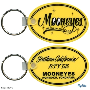 Mooneyes Yellow Oval Rubber Key Chain Yokohama