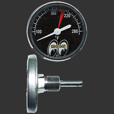 "Moon 1-3/8"" Direct Mount Water Temp Gauge Liquid Filled"